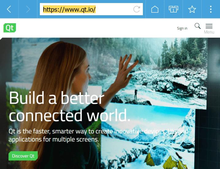 Screenshot of the Qt WebBrowser.