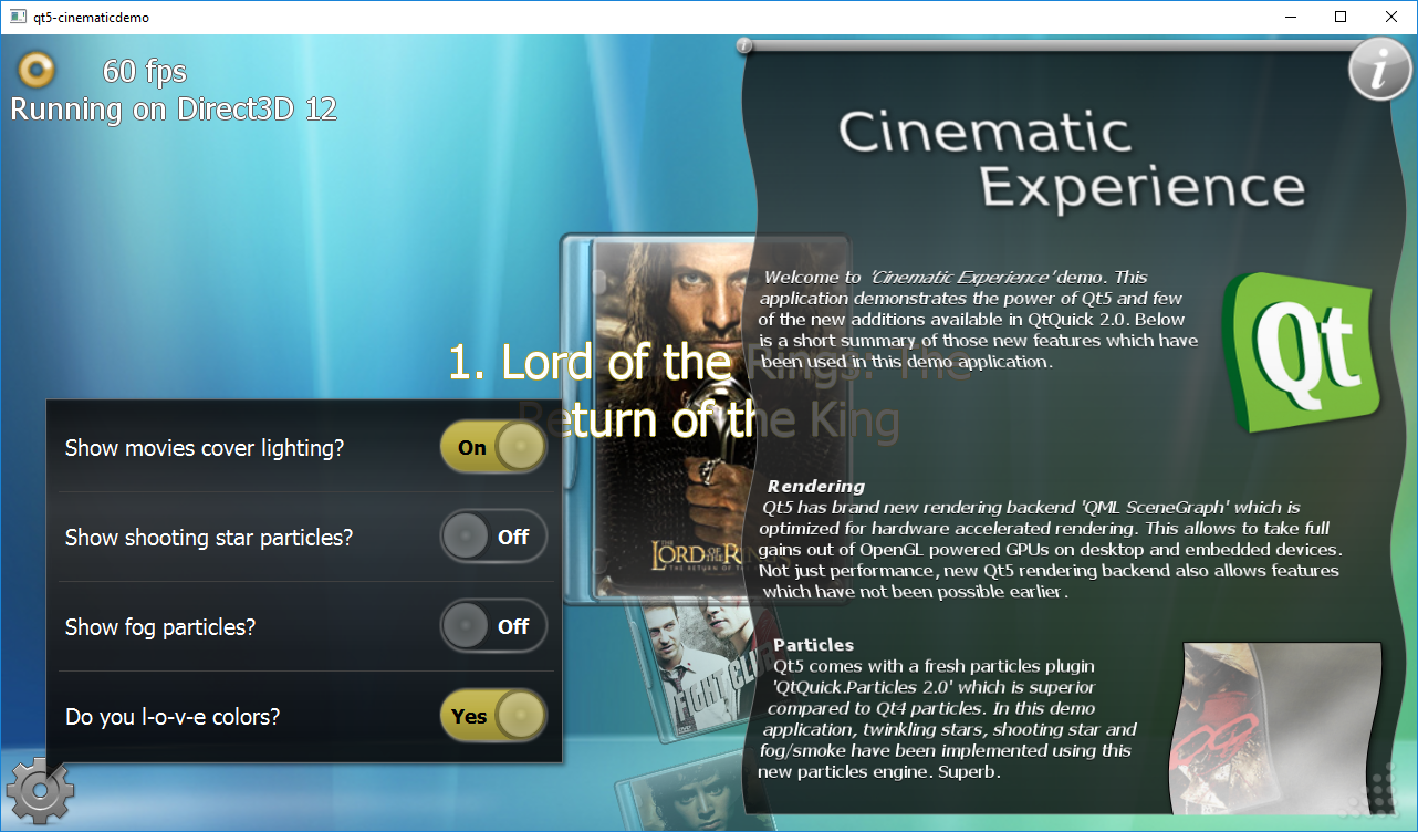Qt 5 Cinematic Experience demo app running on Direct3D 12