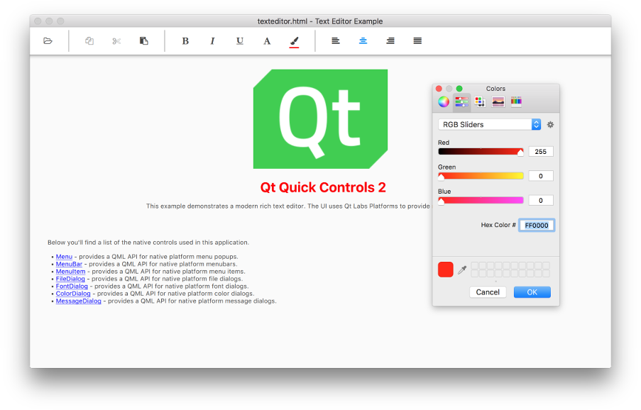 Qt Quick Controls 2 - Text Editor example (Desktop UI)