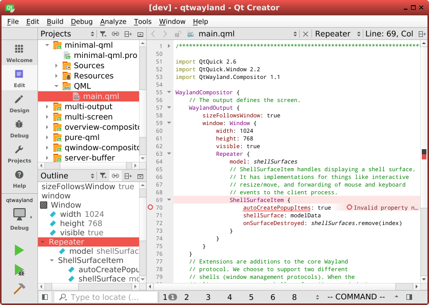 Qt creator 4.7 nightly running on Wayland