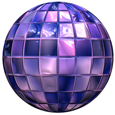 A sphere with a diffuse map and a specular material