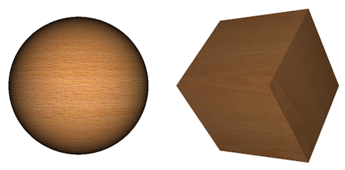 Sphere and cube with wooden diffuse map