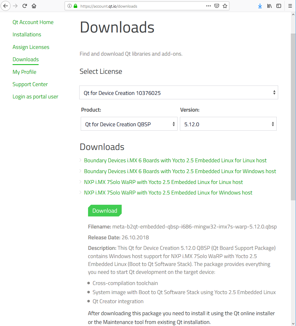 Qt Board Support Package downloads page